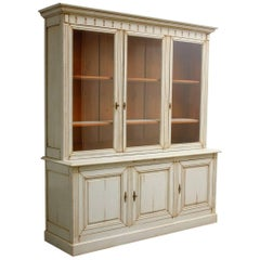 English Neoclassical Style Painted Bookcase Cabinet