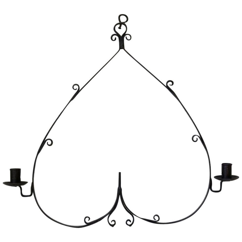 Wrought-Iron Heart-Shaped Hanging Candle Holders, France, circa 1880s