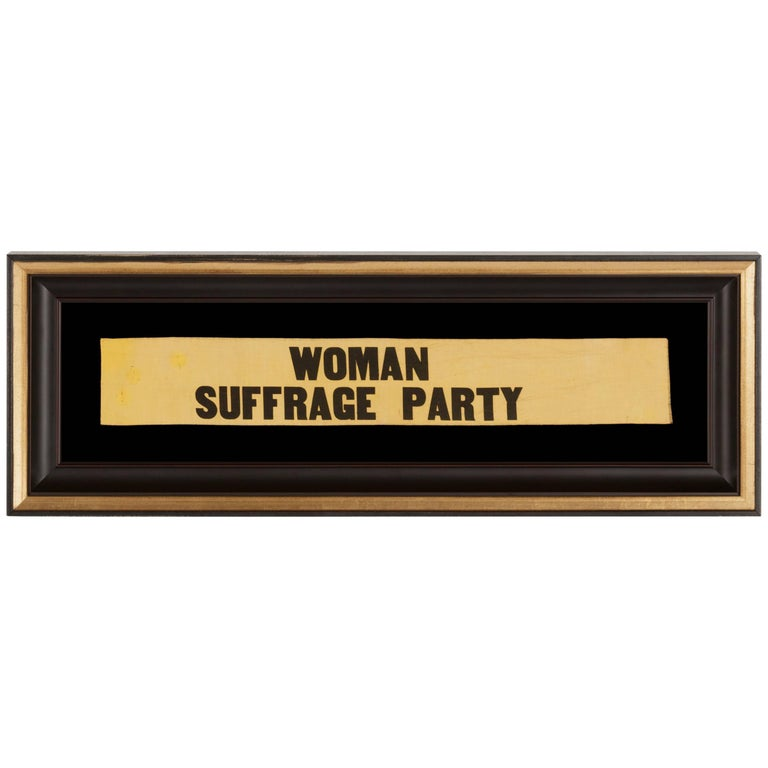 "Yellow Suffragette Ribbon Made for Carrie Chapman Catt's ""Woman Suffrage Party"" For Sale"