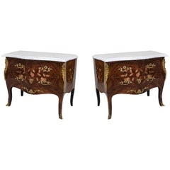 Pair of French Louis XV Style, 20th Century Floral Inlaid Bedside Commodes