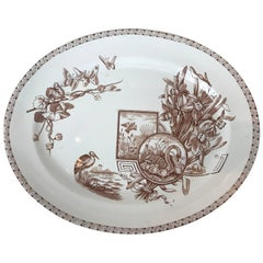 19th Century E. & C. Challinor Brown & White Platter