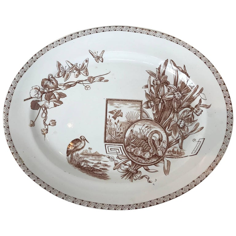 19th Century E. & C. Challinor Brown & White Platter
