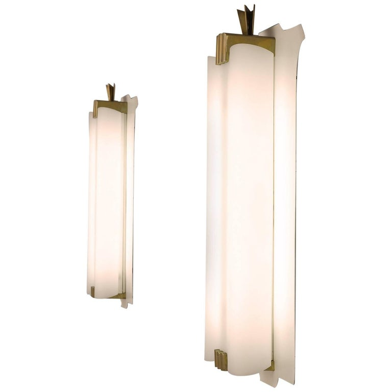 Pair of Large Wall Lights with Brass