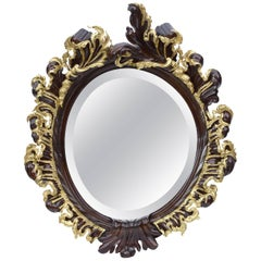 Portuguese Mirror in Rosewood and Gilded Bronze, 19th Century