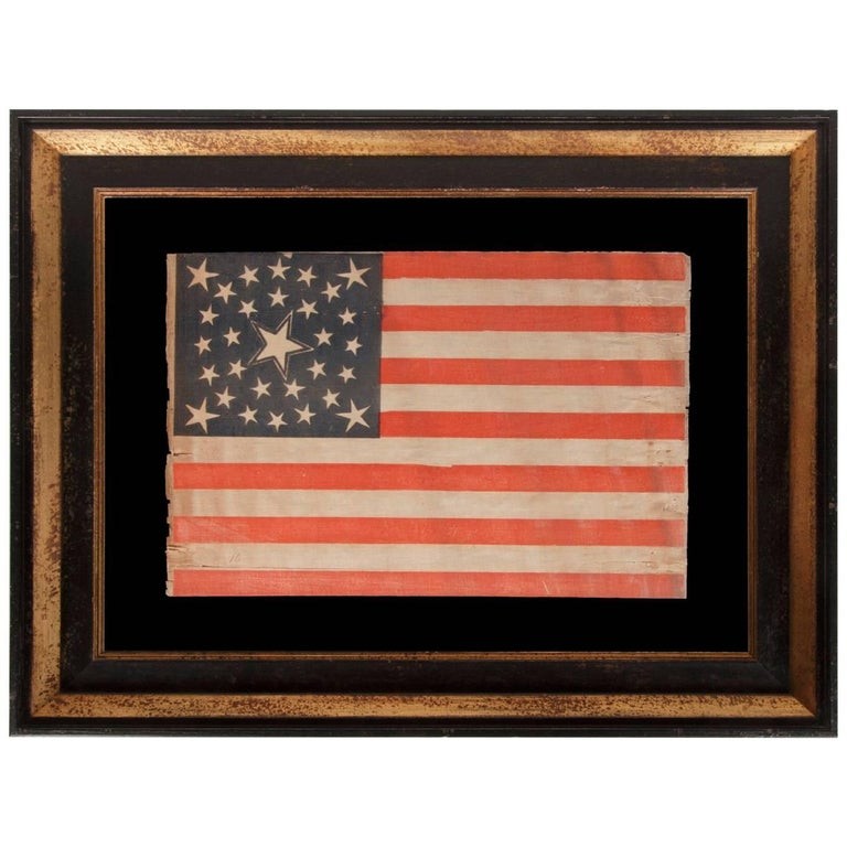30 Stars on an Antique American Flag of the Pre-Civil War Era For Sale