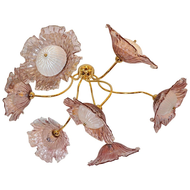 1970s Vintage Italian Flush Mount Baby Rose Pink Murano Glass Floral Chandelier