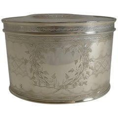 Quality Large Antique English Silver Plated Tea Caddy, circa 1900
