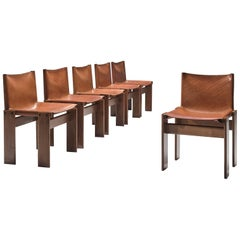 Afra & Tobia Scarpa Set of Six Monk Chairs in Cognac Leather