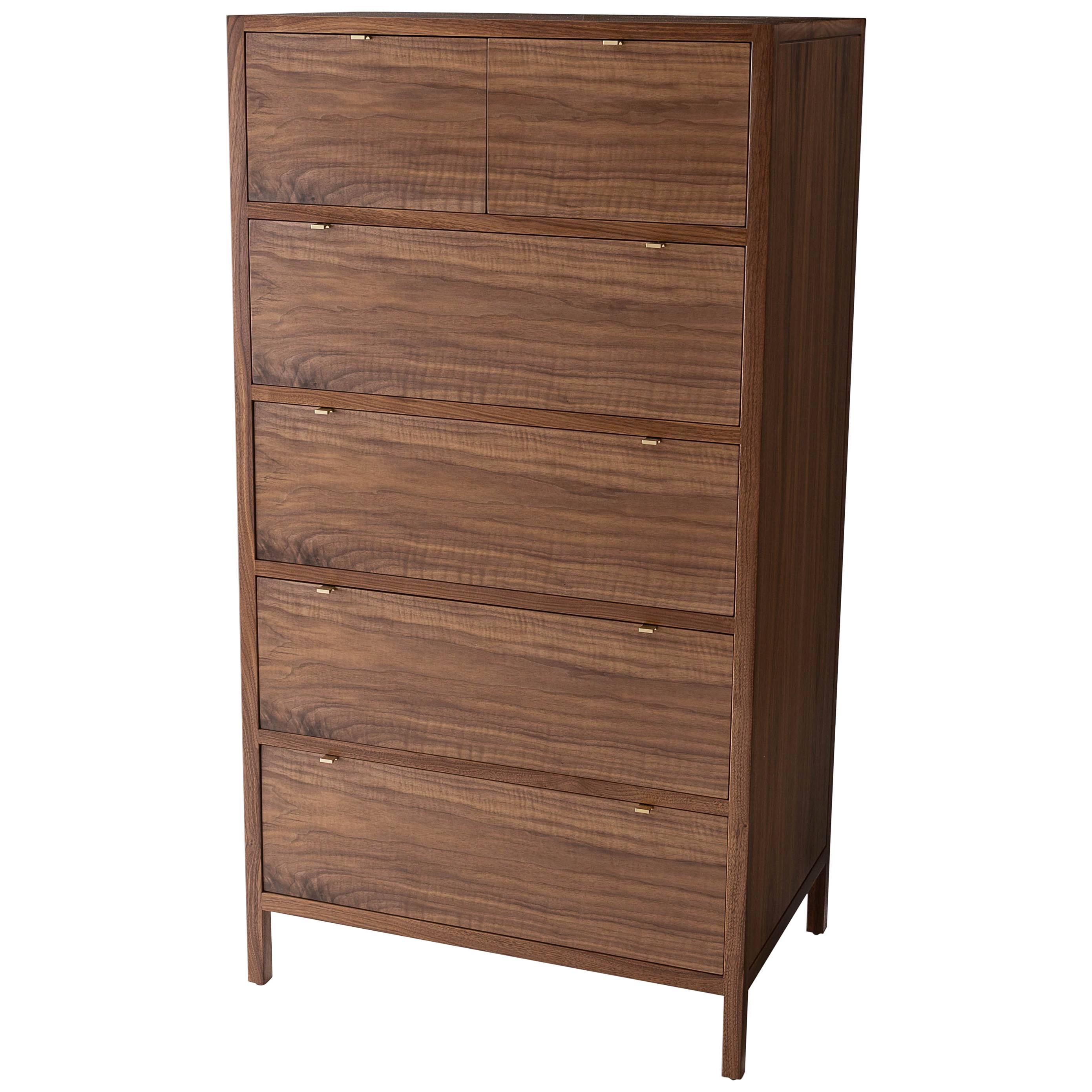 Laska Dresser, Figured Walnut, Six Drawers, Brass Pulls, Customizable