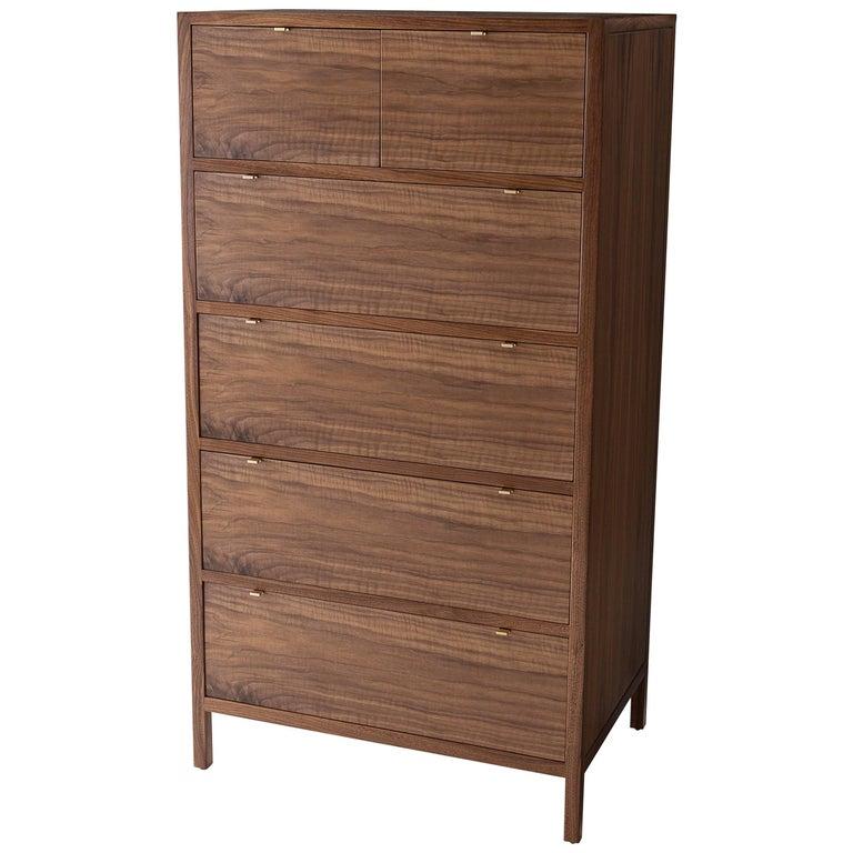 Laska Dresser, Figured Walnut, Six Drawers, Brass Pulls, Customizable For Sale