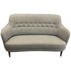 Two-Seat Sofa in New Grey Wool Upholstery Named 'Samas' by Carl Malmsten