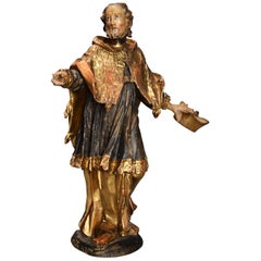 18th Century Superbly Carved Polychrome and Gilt Figure of Saint Peter