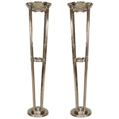French Art Deco Style Chrome Floor Lamps