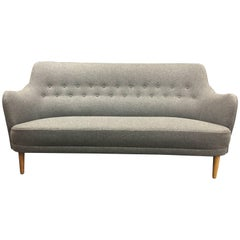Three-Seat Sofa by Carl Malmsten for OH Sjogren in Fresh New Grey Wool