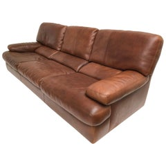 Chocolate Brown Vintage Leather Roche Bobois Three-Seat Sofa, Paris, France