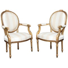 Pair of 19th Century Giltwood and Carved Armchairs