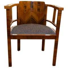 Art Deco Writing Desk Chair in Walnut, 1930s, Bohemia
