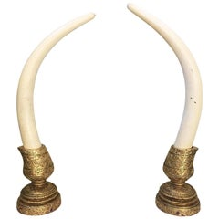 Monumental Decorative Faux Elephant Tusks