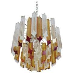 Quadriedri Murano Chandelier, Venini Style 45 Prisms Trasparent Amber