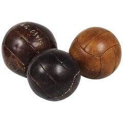 1960s Set of Three Leather Gym Balls