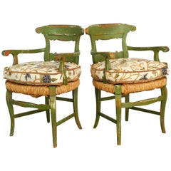 Pair of Country French Painted Armchairs with Rush Seats