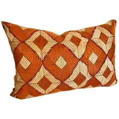 Custom Pillow Cut from a Phulkari Bagh Wedding Shawl, Punjab,  India
