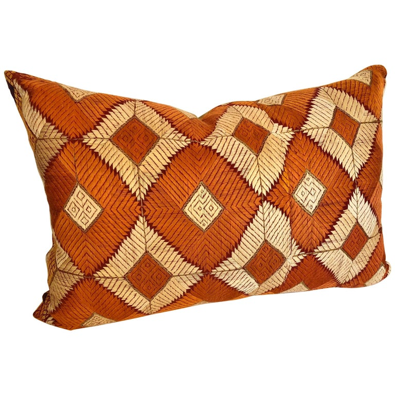 Custom Pillow Cut from a Phulkari Bagh Wedding Shawl, Punjab,  India