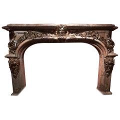 Louis XIV Style, Fireplace Hercules Versailles Sarrancolin Marble & Gilt Bronze