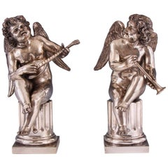 Pair of 18th Century Louis XV Silvered Bronze Musical Cherubs on Columns