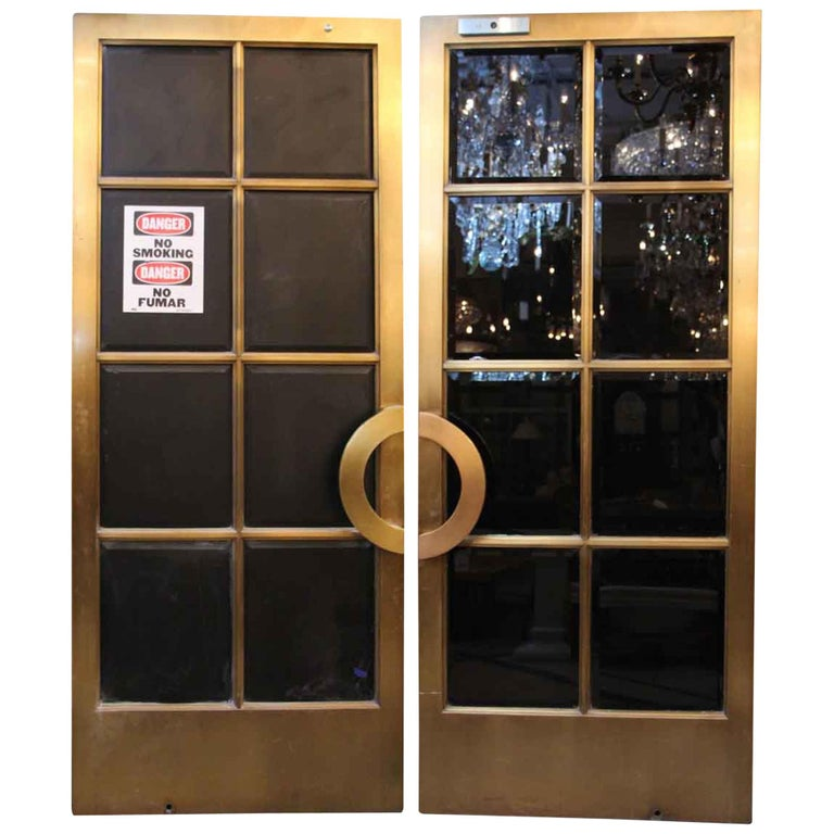 1921 Pair Of Bronze Art Deco Doors With Bevelled Glass From The