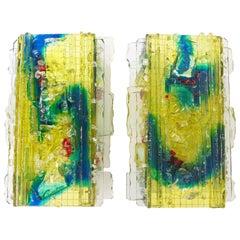 """Paar Kunstglas-Wandleuchten """"Chartres"""" von A. Lankhorst für RAAK, Amsterdam, 1960er Jahre"""