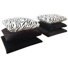 Hollywood Regency Stacked Pillow Velvet Zebra Footstools