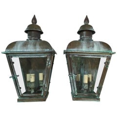 Pair of Handcrafted  Solid Copper Wall Hanging Lantern