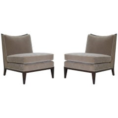 Walnut Frame Slipper Chairs in Clay Mohair, Pair