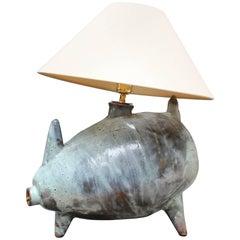 Mid-century Porcine Ceramic Table Lamp with Verdigris Matte Glaze, circa 1960s