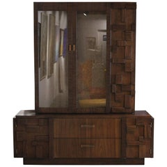 Modern Lane Brutalist Walnut Hutch / Cabinet in the Style of Paul Evans
