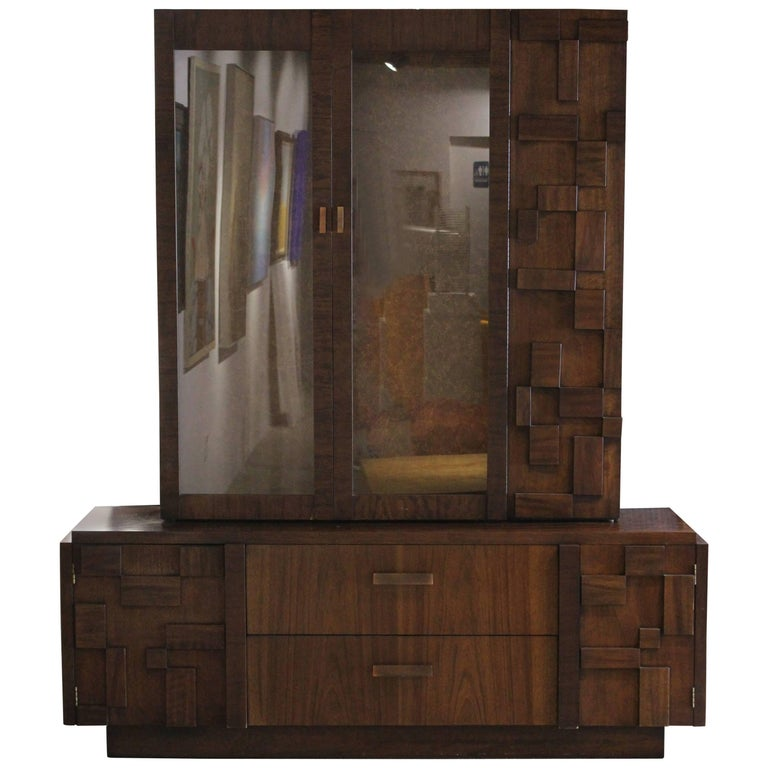 Modern Lane Brutalist Walnut Hutch / Cabinet in the Style of Paul Evans