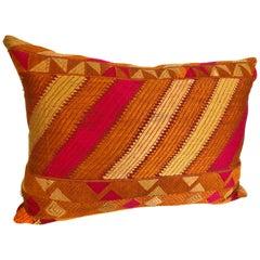 Custom Pillow Cut from a Vintage Silk Phulkari Bagh Wedding Shawl, Punjab, India