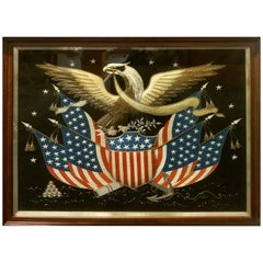 Fine Japanese Large American Eagle and Stars and Stripes Silkwork Picture