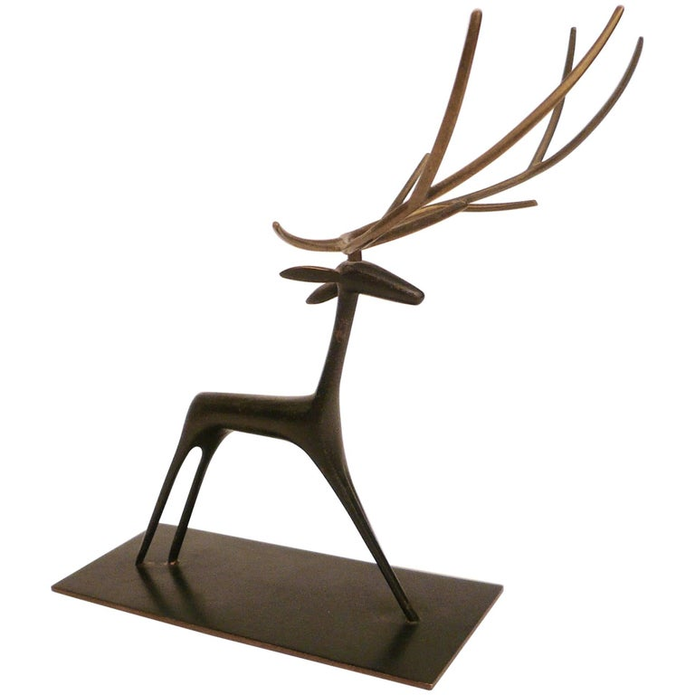 Patinated Bronze Sculpture of a Deer by Hagenauer