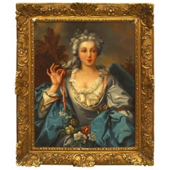 French Louis XVI, 18th-19th Century Portrait Oil Painting of Young Woman
