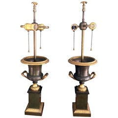 Pair of 19th Century Restoration Urns Transformed into Lamps