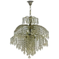 Rare Mid -Century Palm Tree Chandelier, Bronze and Crystal, circa 1960s