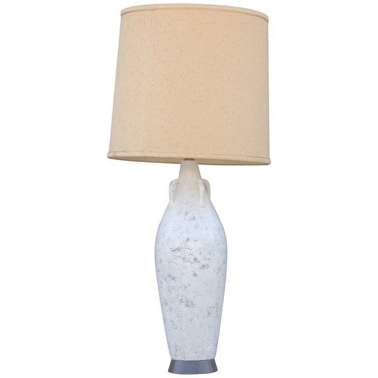 Modern Nardini Studio Italian White Reticulated Pottery Urn Table Lamp For Sale