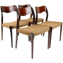 Set Four Danish Design Chairs ''Model 71'' in Rosewood & Wool, Niels Otto Moller