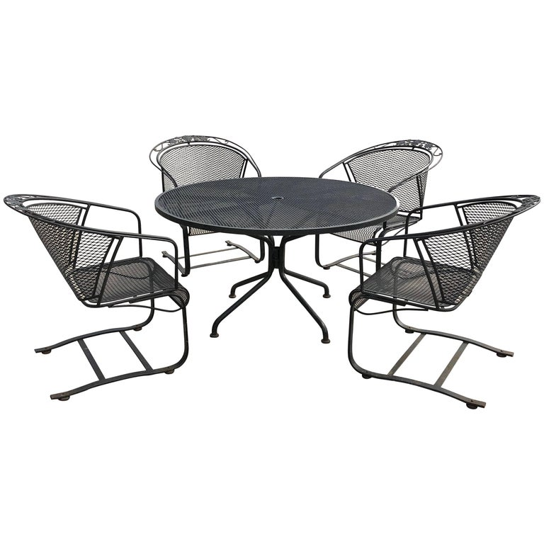 Mid-Century Modern Russell Woodard Arnold Palmer Patio Four Chairs and Table