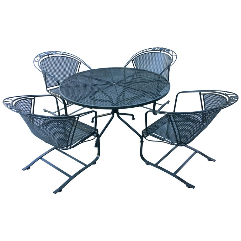 Mid Century Modern Rus Woodard Arnold Palmer Patio Set Of 4 Chairs And Table For