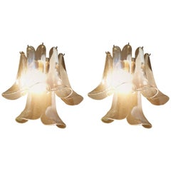 "Mid-Century Modern Pair of Sconces in ""Lattimo"" Murano Glass by La Murrina"