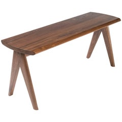 Crest Bench by Tretiak Works, Contemporary Handmade Solid Walnut Bench