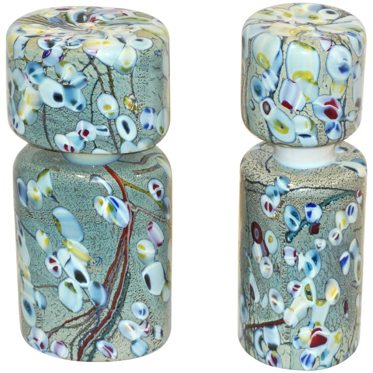 Pino Signoretto 1980s Pair of Silver Green Blue Yellow Red Murano Glass Bottles